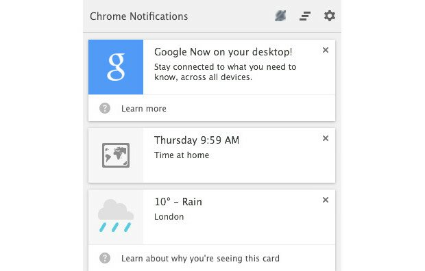 Google Now on Chrome